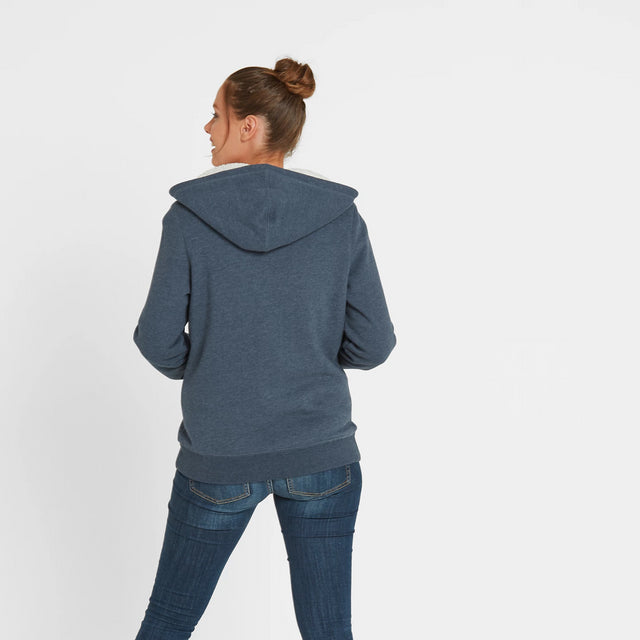 Ada Womens Zip Sherpa Hoody - Atlantic Blue Marl image 3