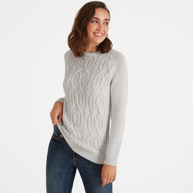 Adele Womens Cable Knit Jumper - Ice Grey image 1