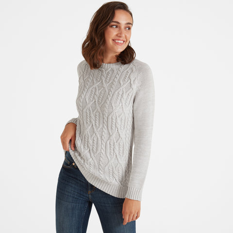 Adele Womens Cable Knit Jumper - Ice Grey