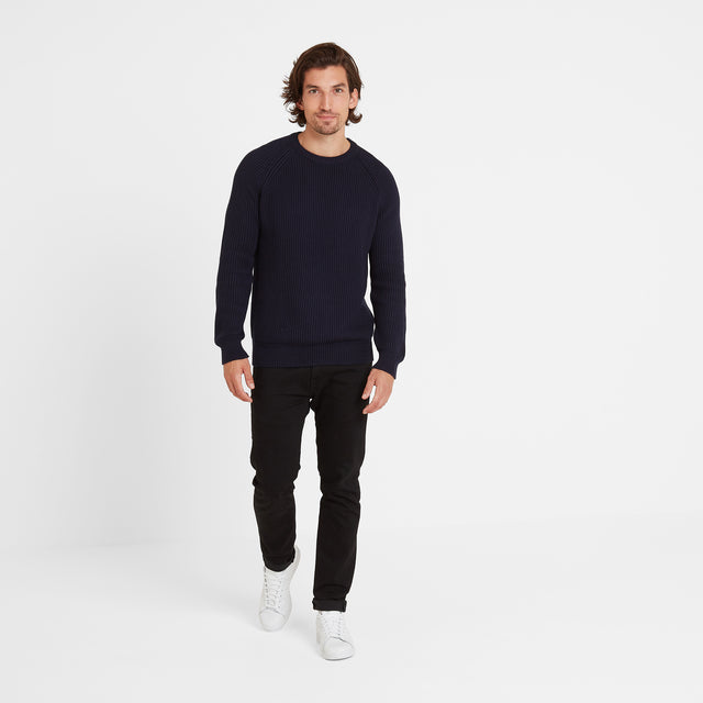 Alford Mens Ribbed Jumper - Navy image 1
