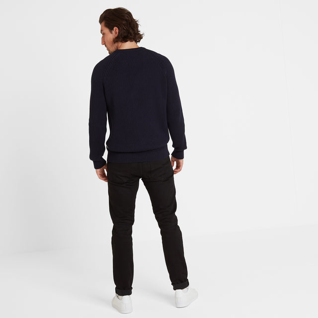 Alford Mens Ribbed Jumper - Navy image 2