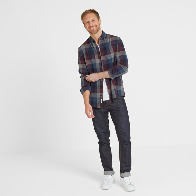 Alfred Mens Long Sleeve Flannel Check Shirt - Deep Port Marl image 1