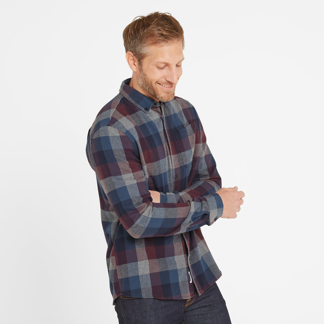 Alfred Mens Long Sleeve Flannel Check Shirt - Deep Port Marl image 3