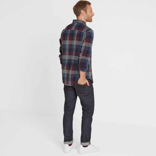 Alfred Mens Long Sleeve Flannel Check Shirt - Deep Port Marl image 2