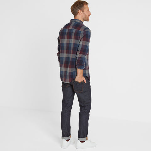 Alfred Mens Long Sleeve Flannel Check Shirt - Deep Port Marl