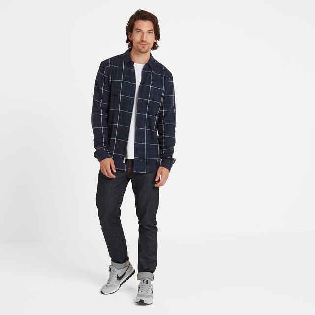 Barney Mens Long Sleeve Flannel Check Shirt - Navy Marl image 1