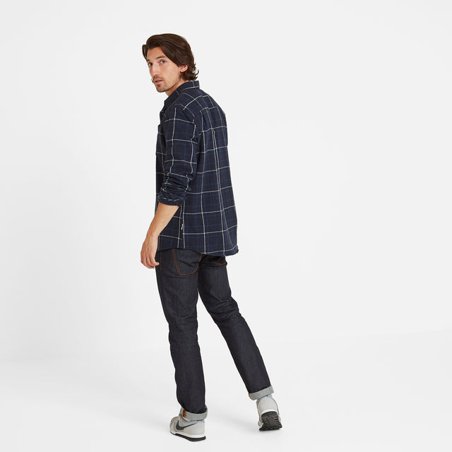 Barney Mens Long Sleeve Flannel Check Shirt - Navy Marl image 2