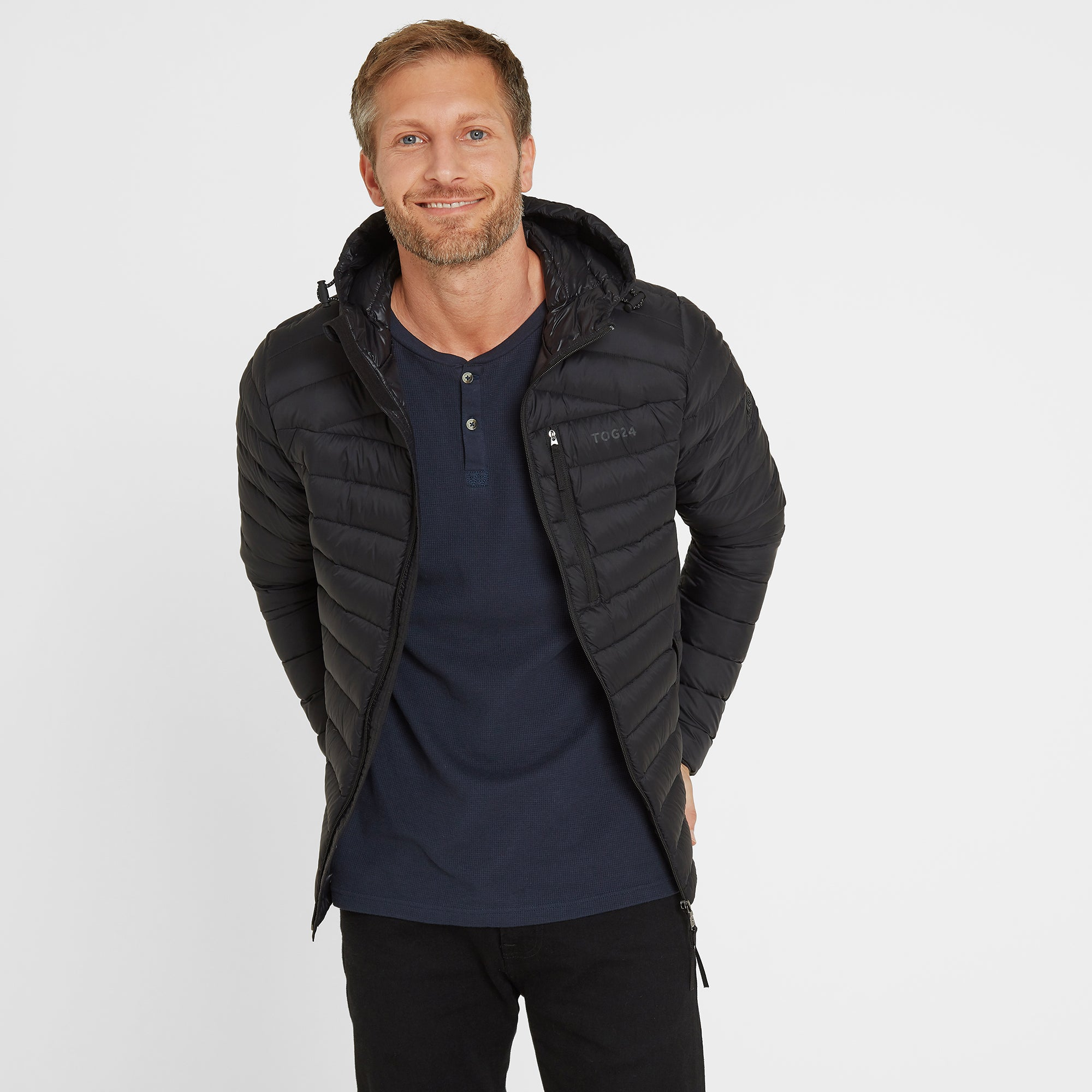 Base Mens Hooded Down Jacket - Coal Grey