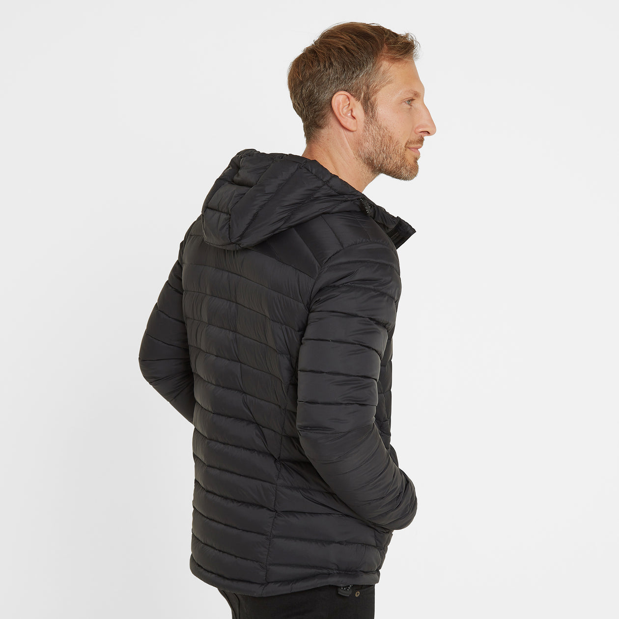Base Mens Hooded Down Jacket - Coal Grey image 4