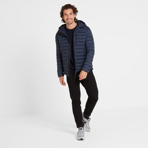 Base Mens Hooded Down Jacket - Dark Indigo