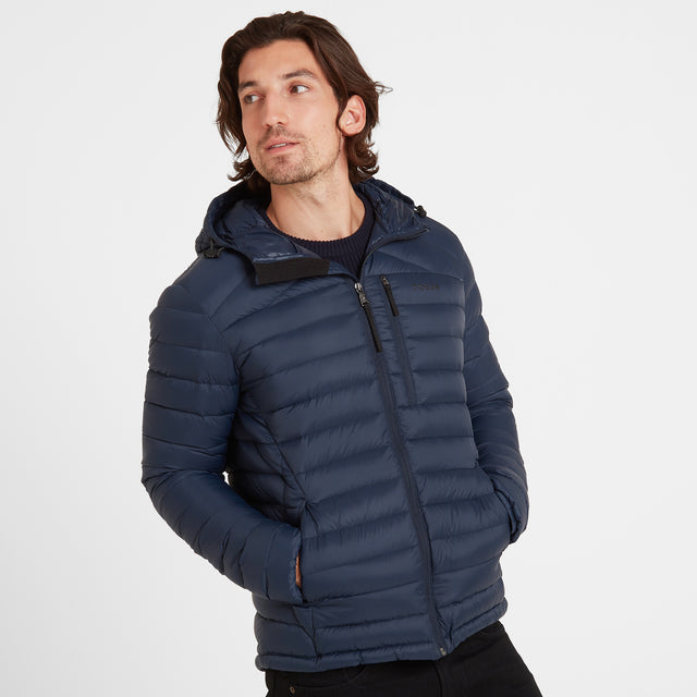 Base Mens Hooded Down Jacket - Dark Indigo image 2