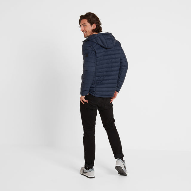 Base Mens Hooded Down Jacket - Dark Indigo image 3