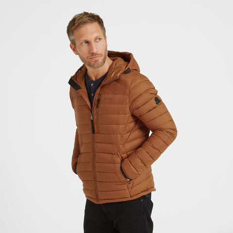 Base Mens Hooded Down Jacket - Amber