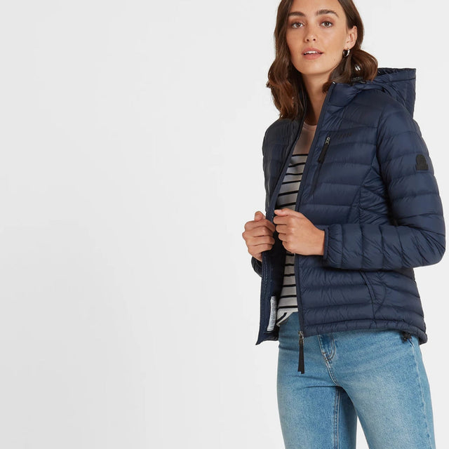 Base Womens Hooded Down Jacket - Dark Indigo image 1