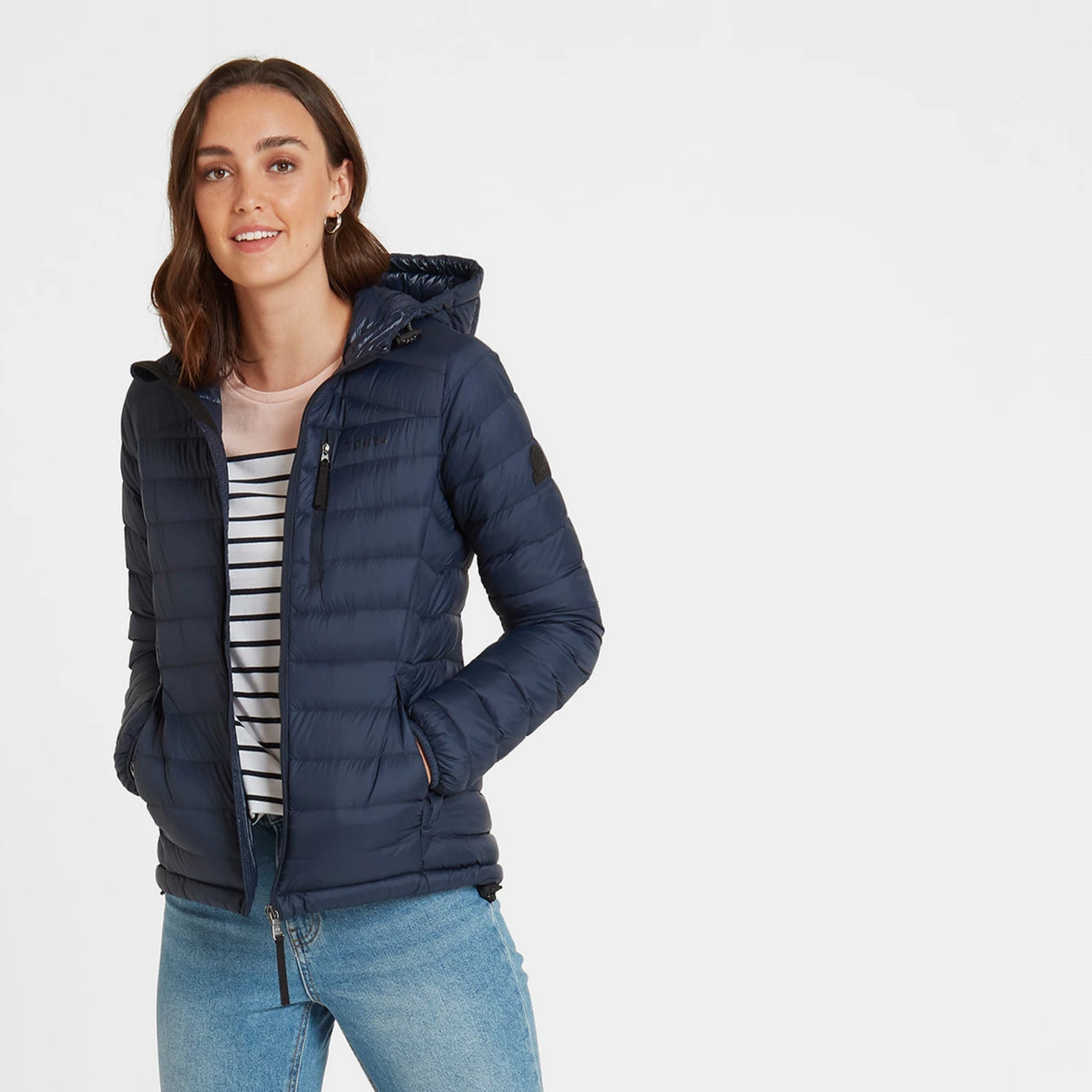 Base Womens Hooded Down Jacket - Dark Indigo image 4