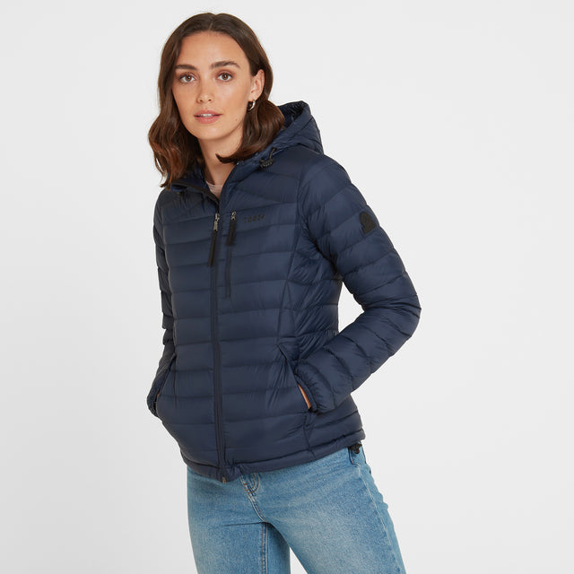 Base Womens Hooded Down Jacket - Dark Indigo image 2
