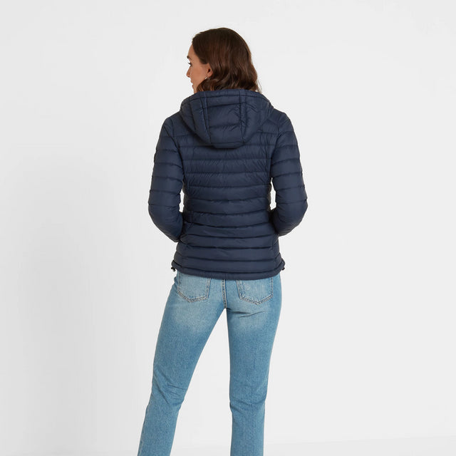 Base Womens Hooded Down Jacket - Dark Indigo image 3
