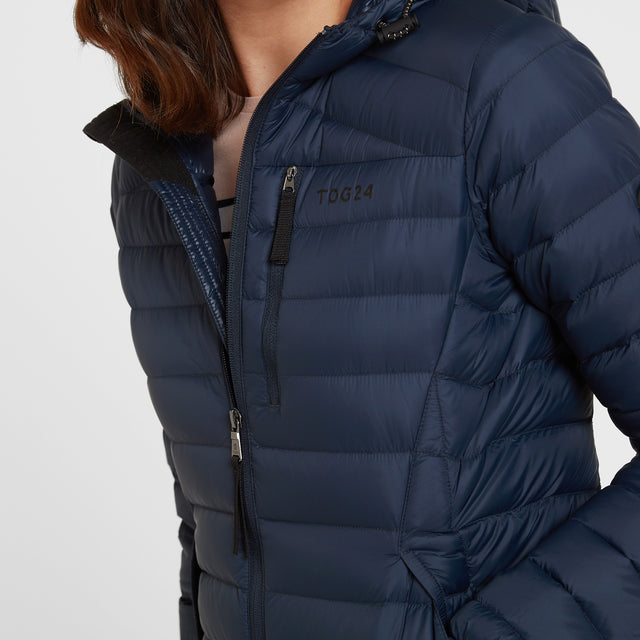 Base Womens Hooded Down Jacket - Dark Indigo image 5