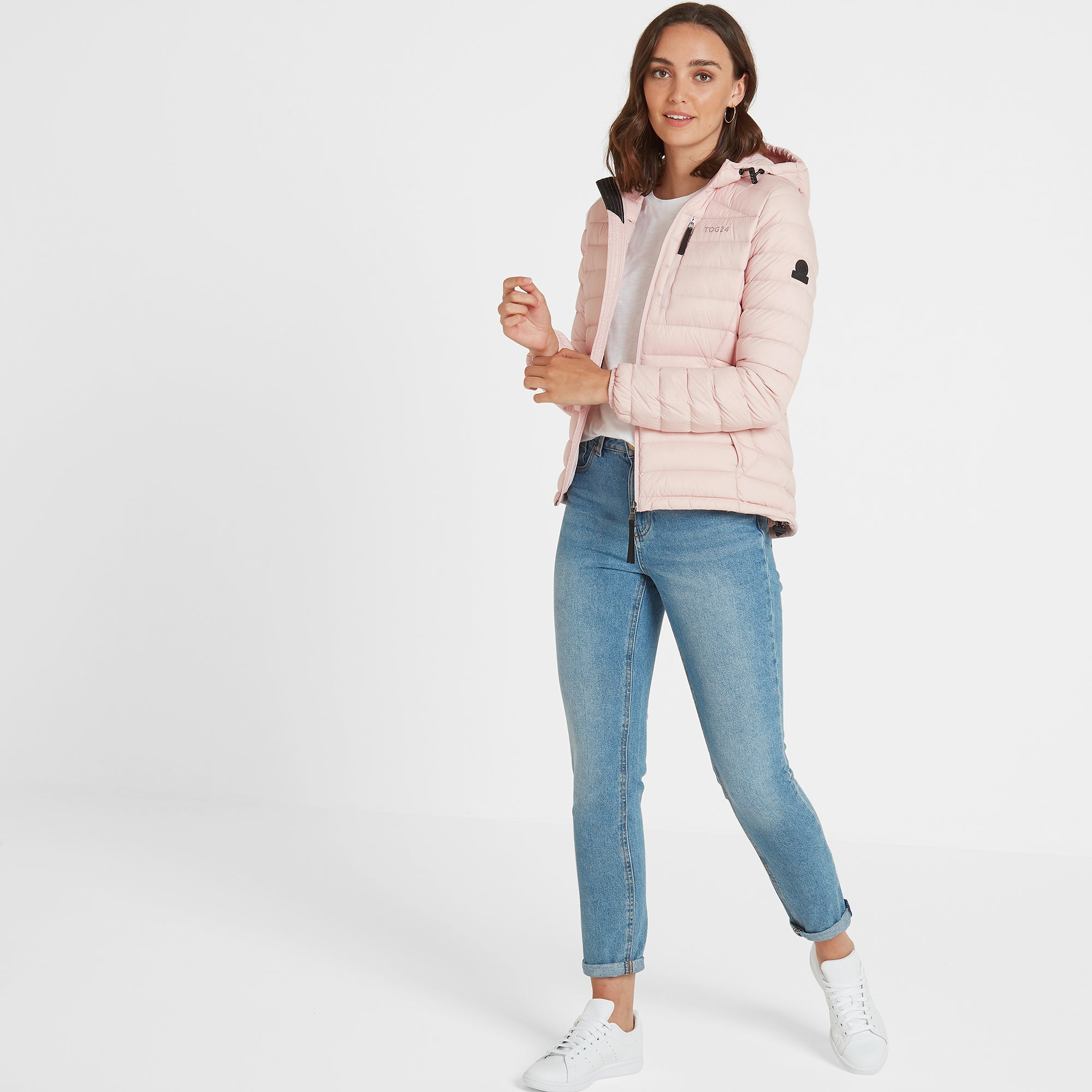 Base Womens Hooded Down Jacket - Rose Pink