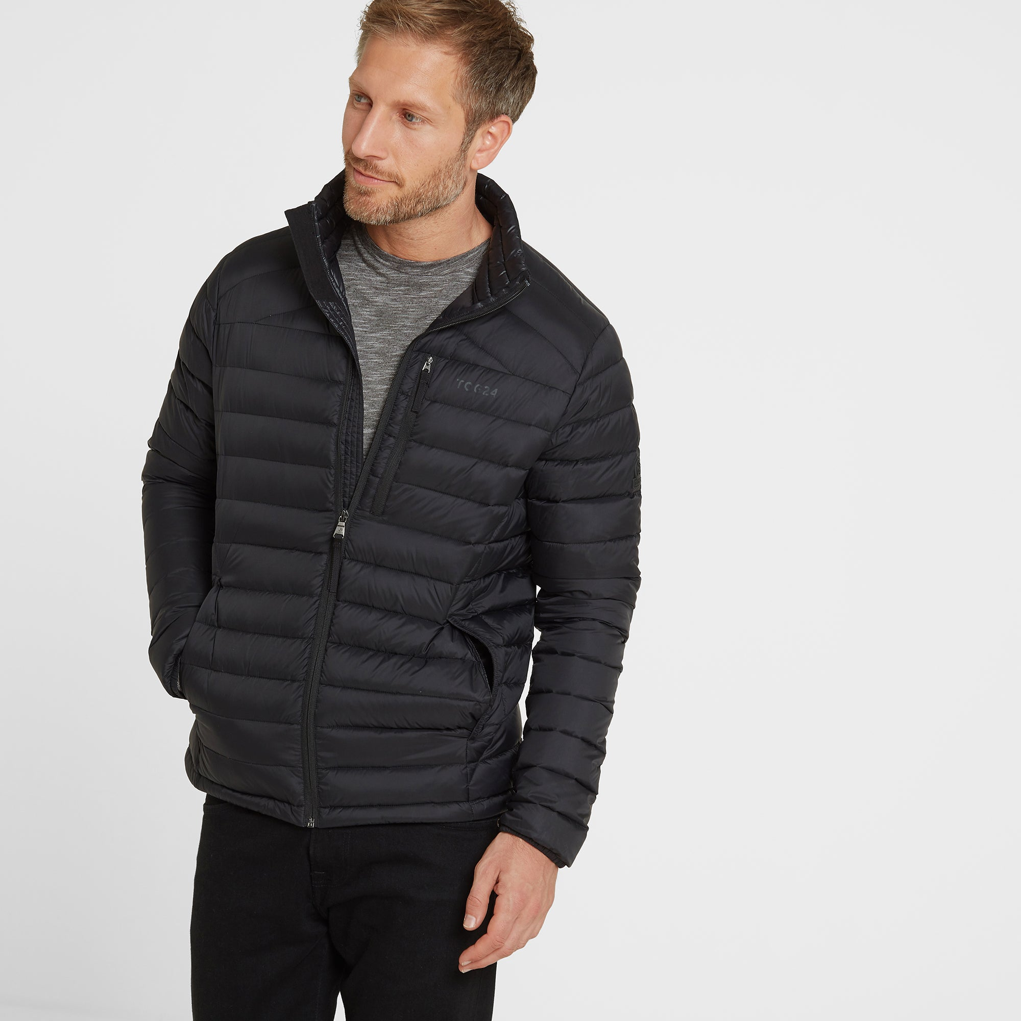 Base Mens Funnel Down Jacket - Coal Grey
