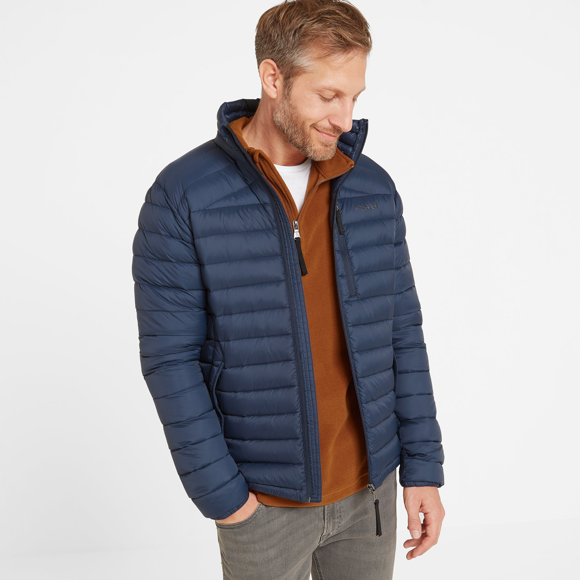 Base Mens Funnel Down Jacket - Dark Indigo