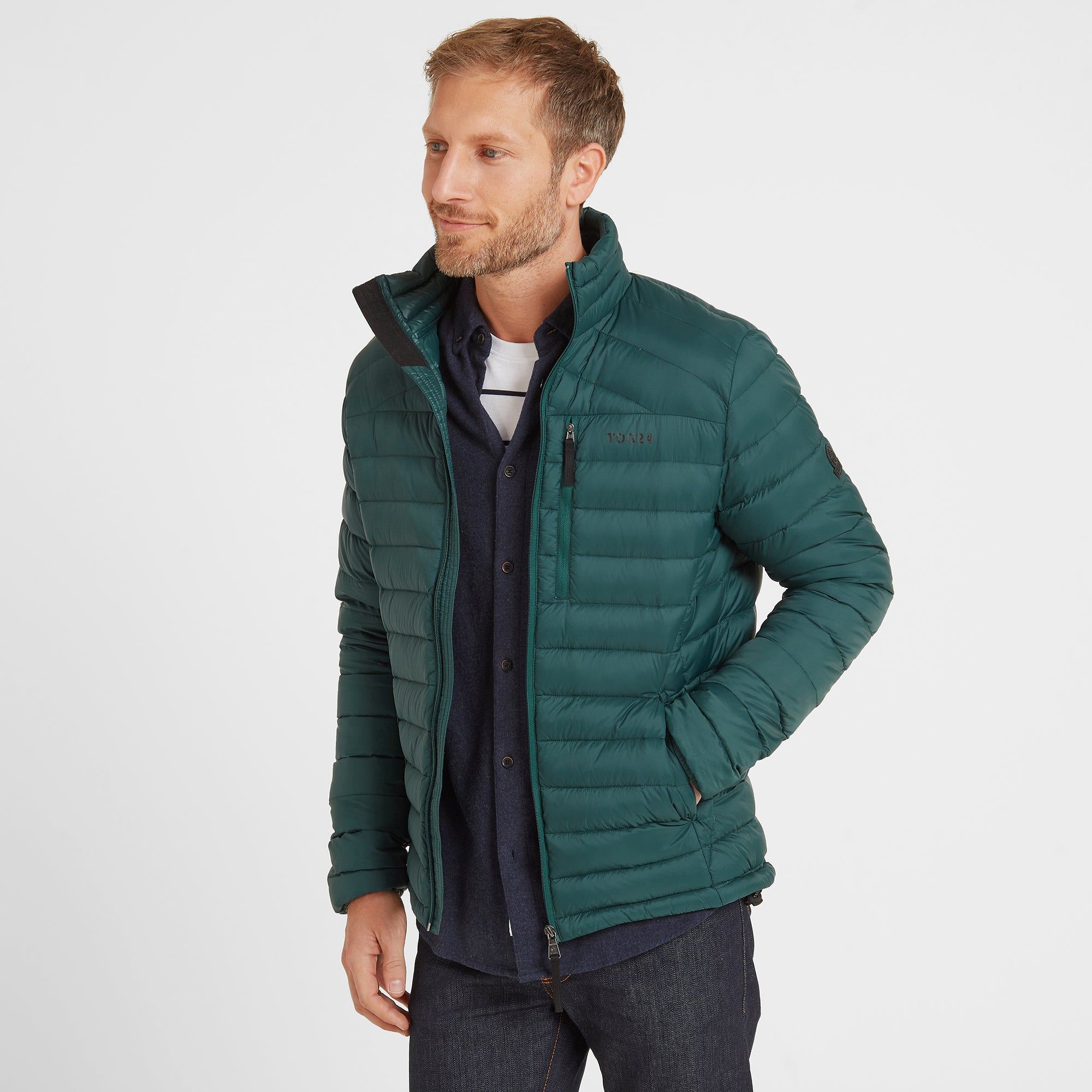 Base Mens Funnel Down Jacket - Forest