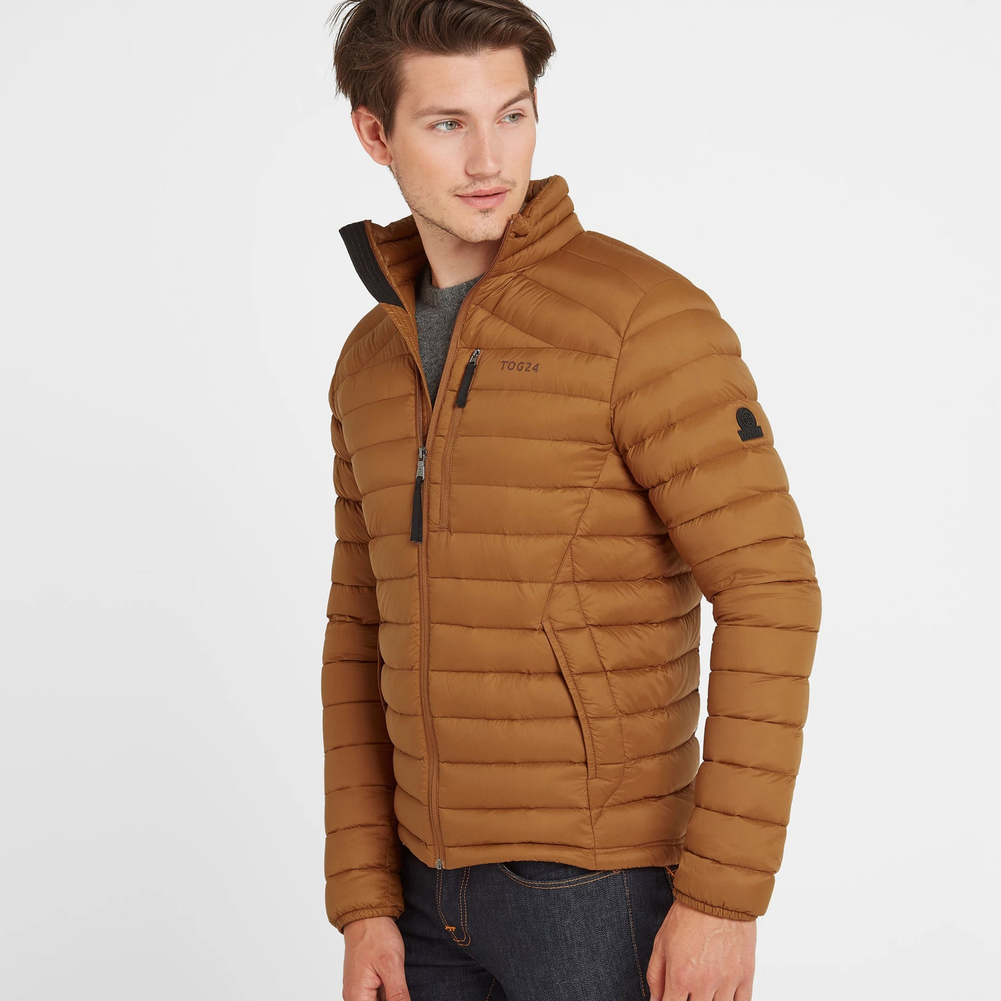 Base Mens Funnel Down Jacket - Amber
