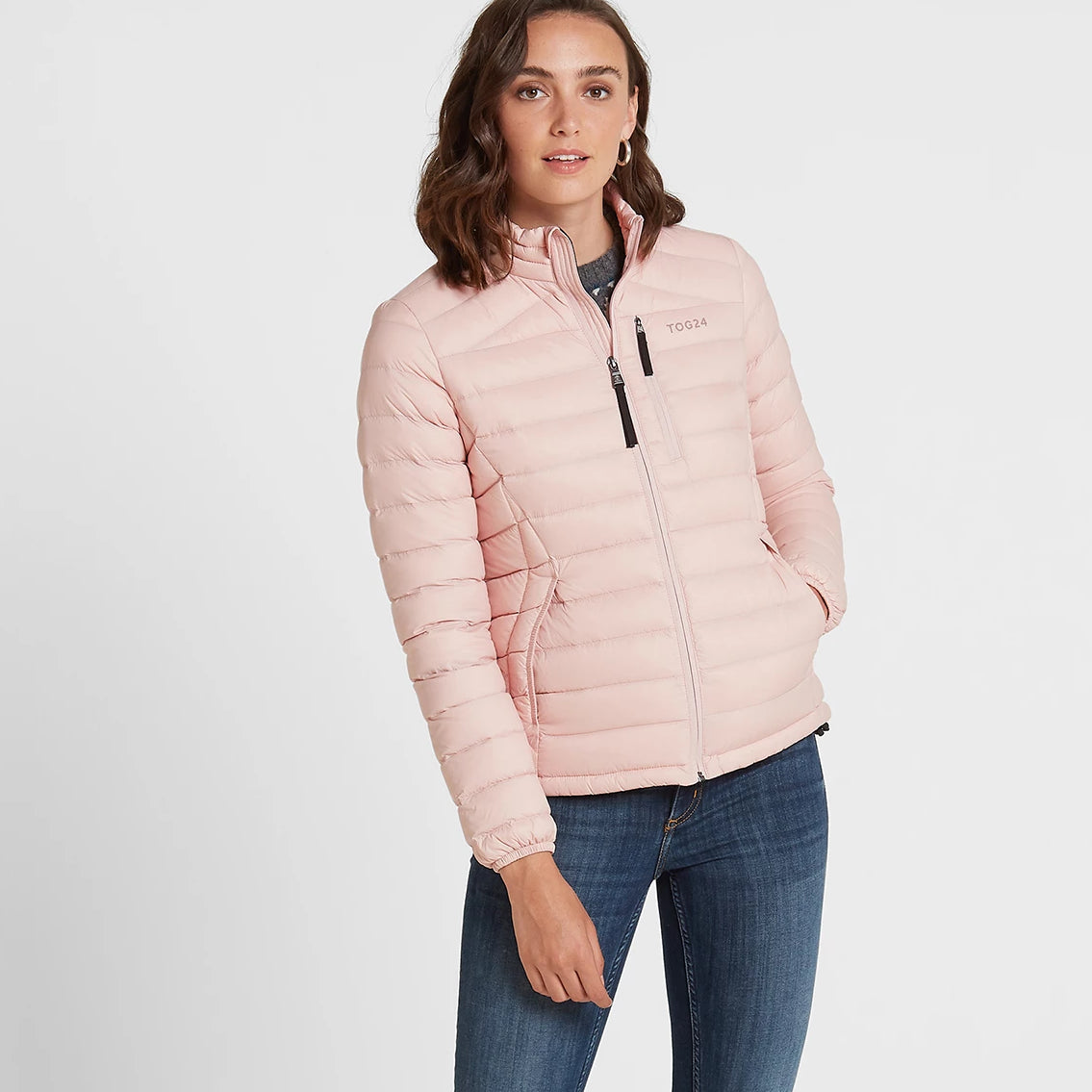 Base Womens Funnel Down Jacket - Rose Pink