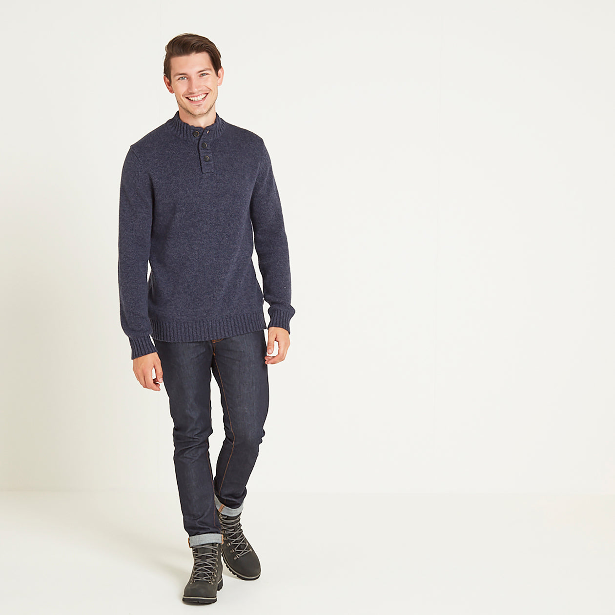 Bert Mens Button Funnel Neck Jumper - Navy Marl image 4