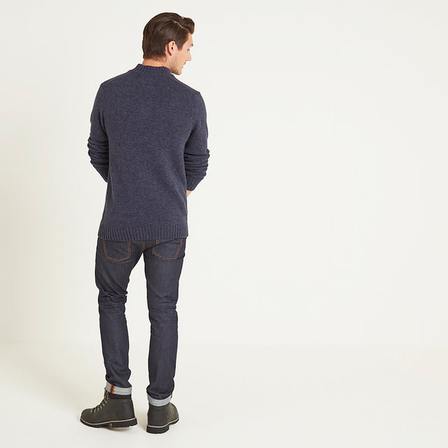 Bert Mens Button Funnel Neck Jumper - Navy Marl image 2