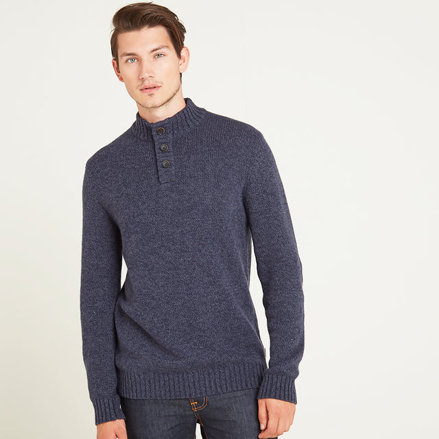 Bert Mens Button Funnel Neck Jumper - Navy Marl image 1