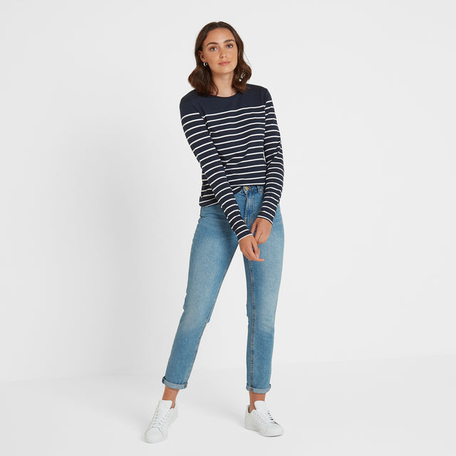Betsy Womens Long Sleeve Stripe T-Shirt - Dark Indigo/White image 1