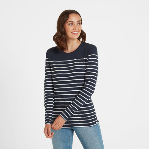 Betsy Womens Long Sleeve Stripe T-Shirt - Dark Indigo/White