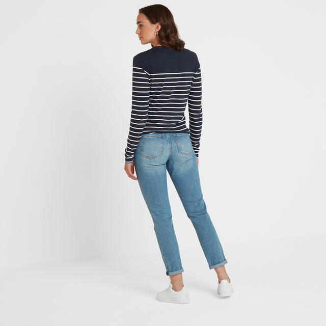 Betsy Womens Long Sleeve Stripe T-Shirt - Dark Indigo/White image 3