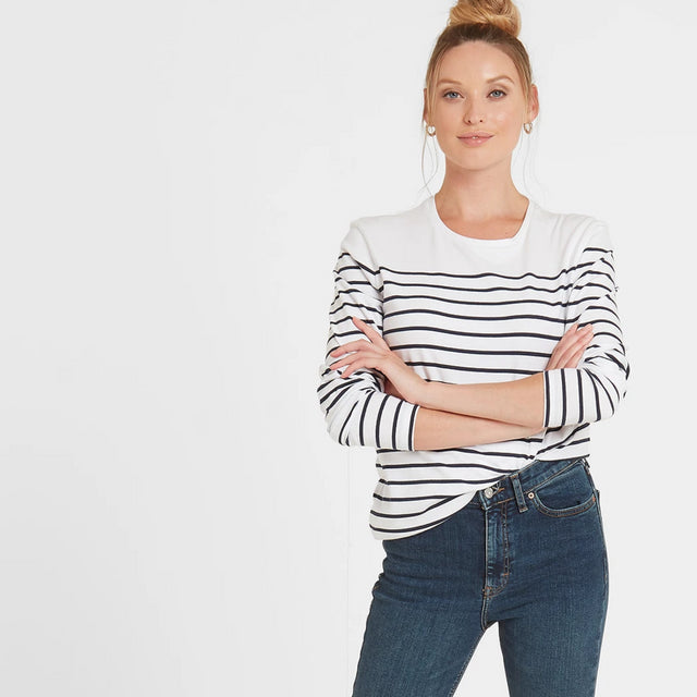 Betsy Womens Long Sleeve Stripe T-Shirt - White/Indigo image 1