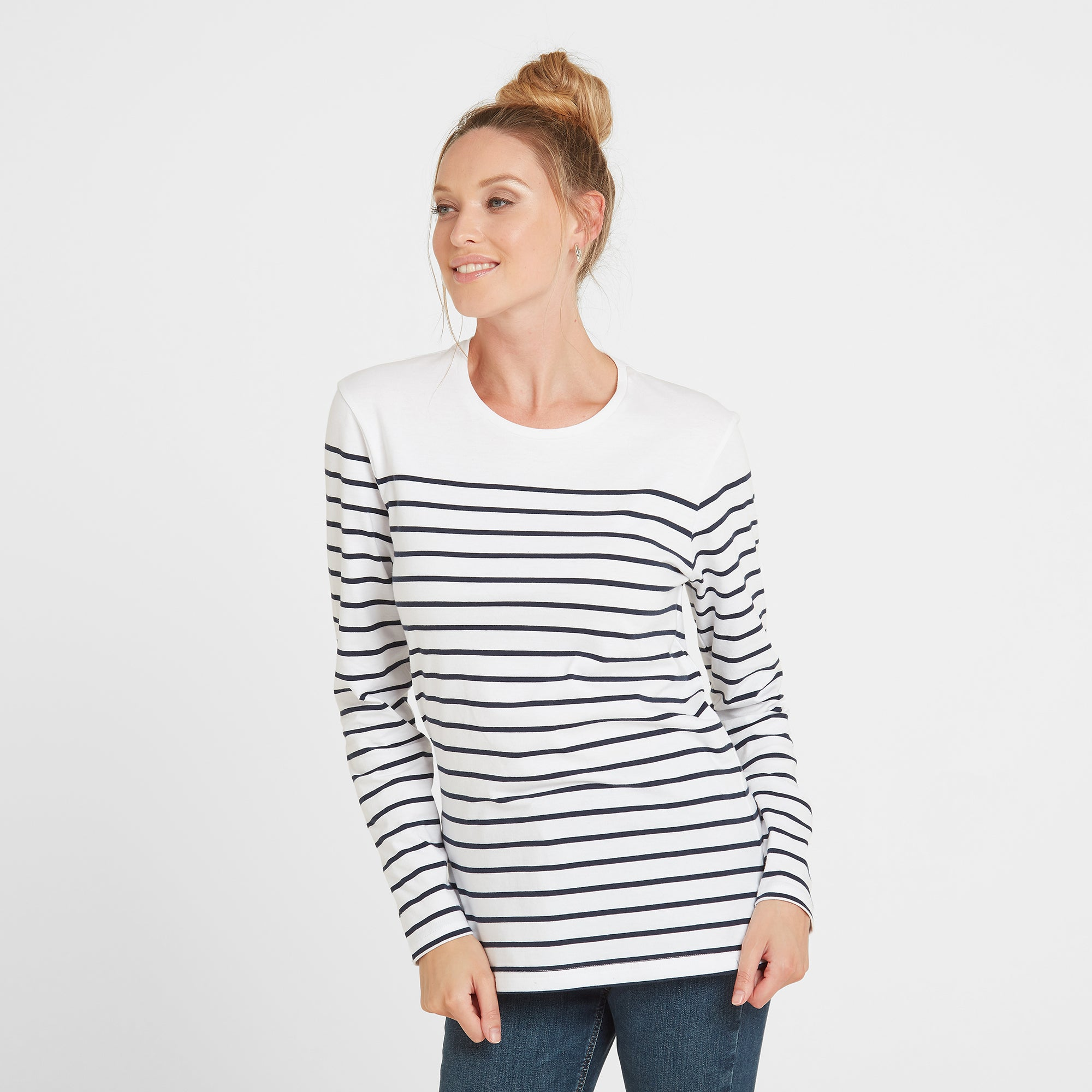 Betsy Womens Long Sleeve Stripe T-Shirt - White/Indigo