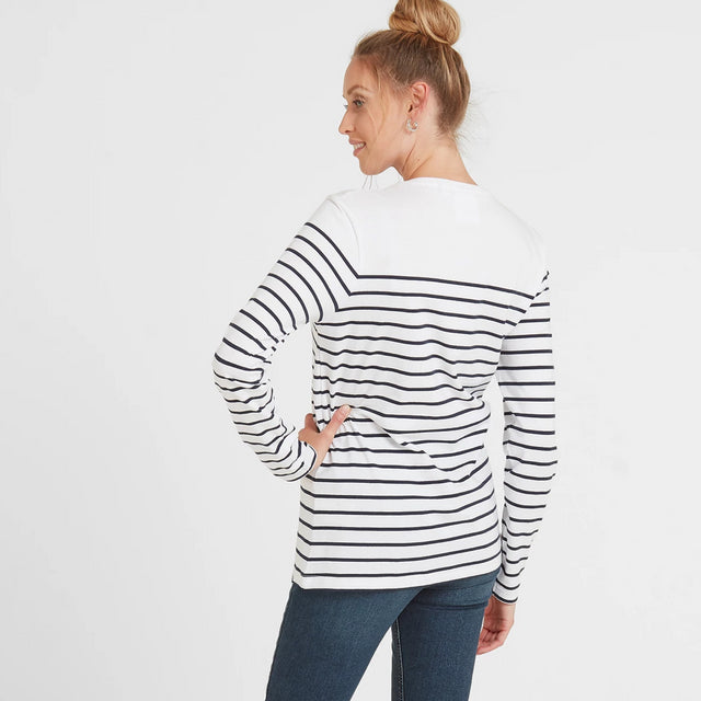 Betsy Womens Long Sleeve Stripe T-Shirt - White/Indigo image 3