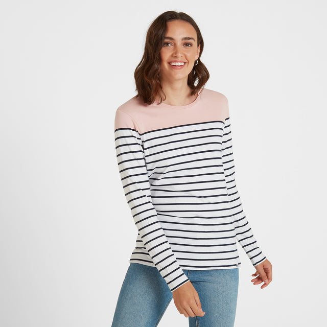Betsy Womens Long Sleeve Stripe T-Shirt - Rose/White/Indigo image 1