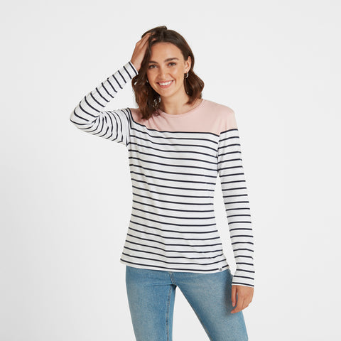 Betsy Womens Long Sleeve Stripe T-Shirt - Rose/White/Indigo