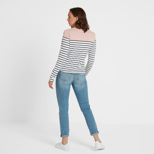 Betsy Womens Long Sleeve Stripe T-Shirt - Rose/White/Indigo image 3