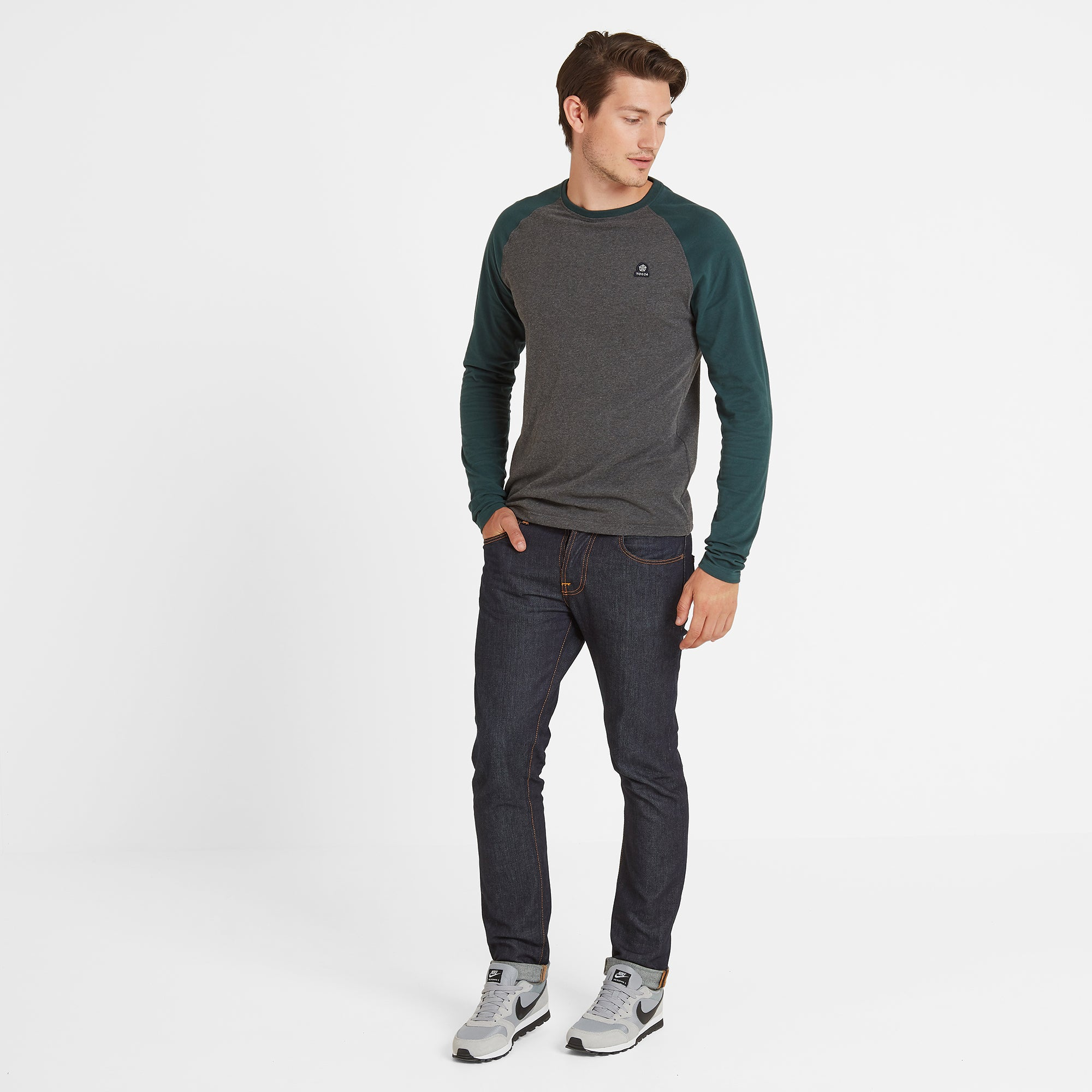 Buckden Mens Long Sleeve Raglan T-Shirt - Grey Marl/Dark Teal