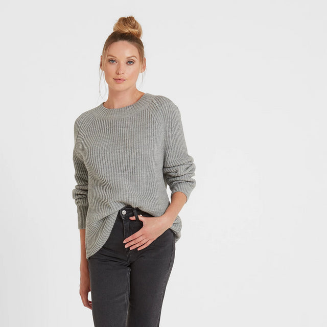 Carla Womens Chunky Rib Crew Jumper - Light Grey Marl image 1