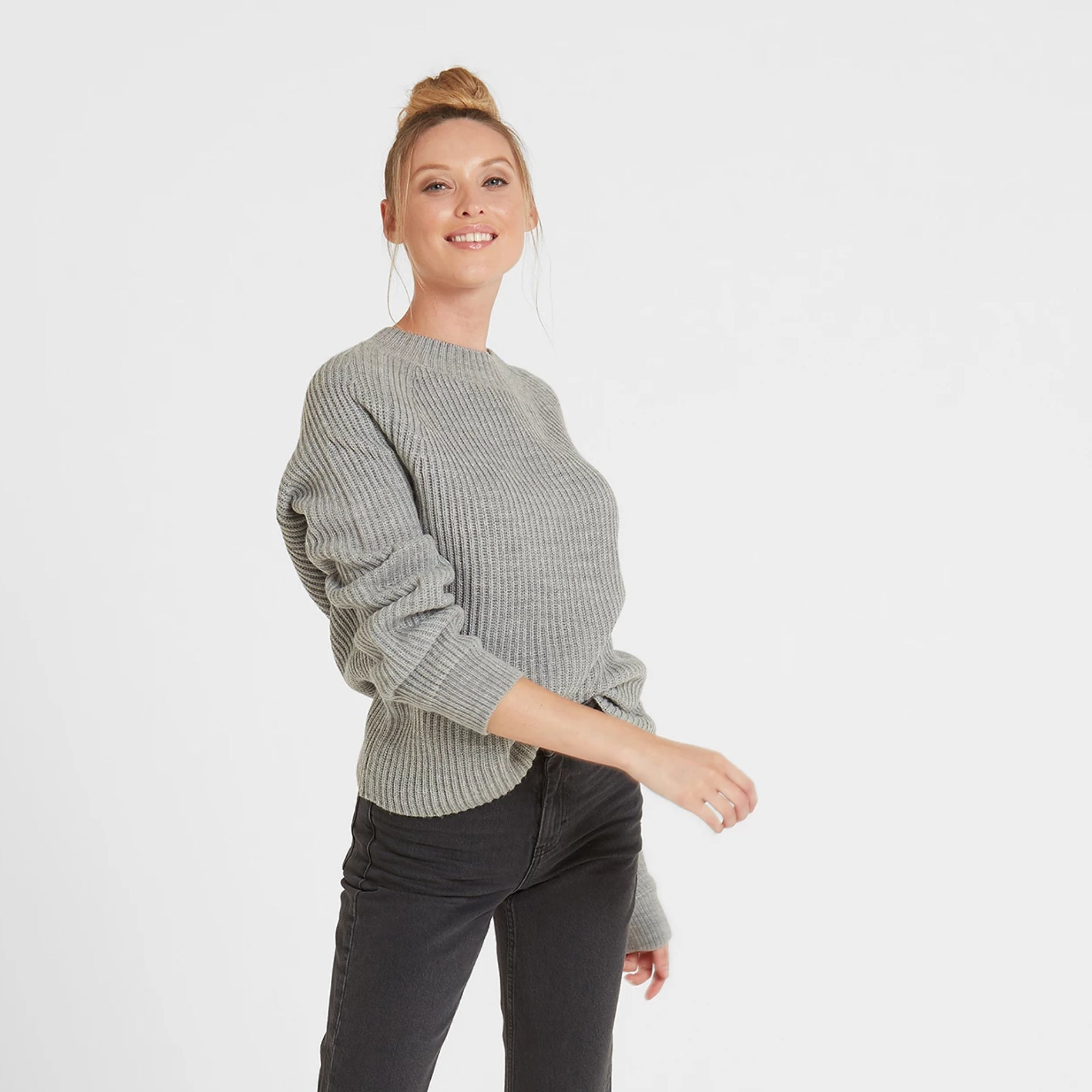 Carla Womens Chunky Rib Crew Jumper - Light Grey Marl