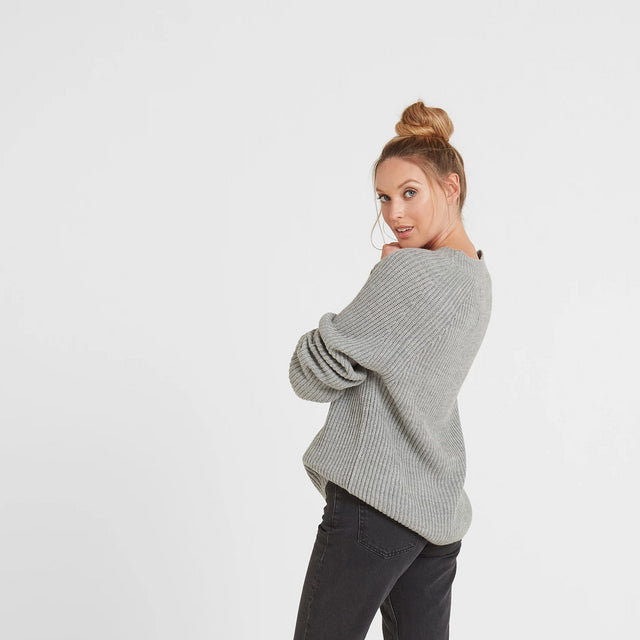 Carla Womens Chunky Rib Crew Jumper - Light Grey Marl image 2