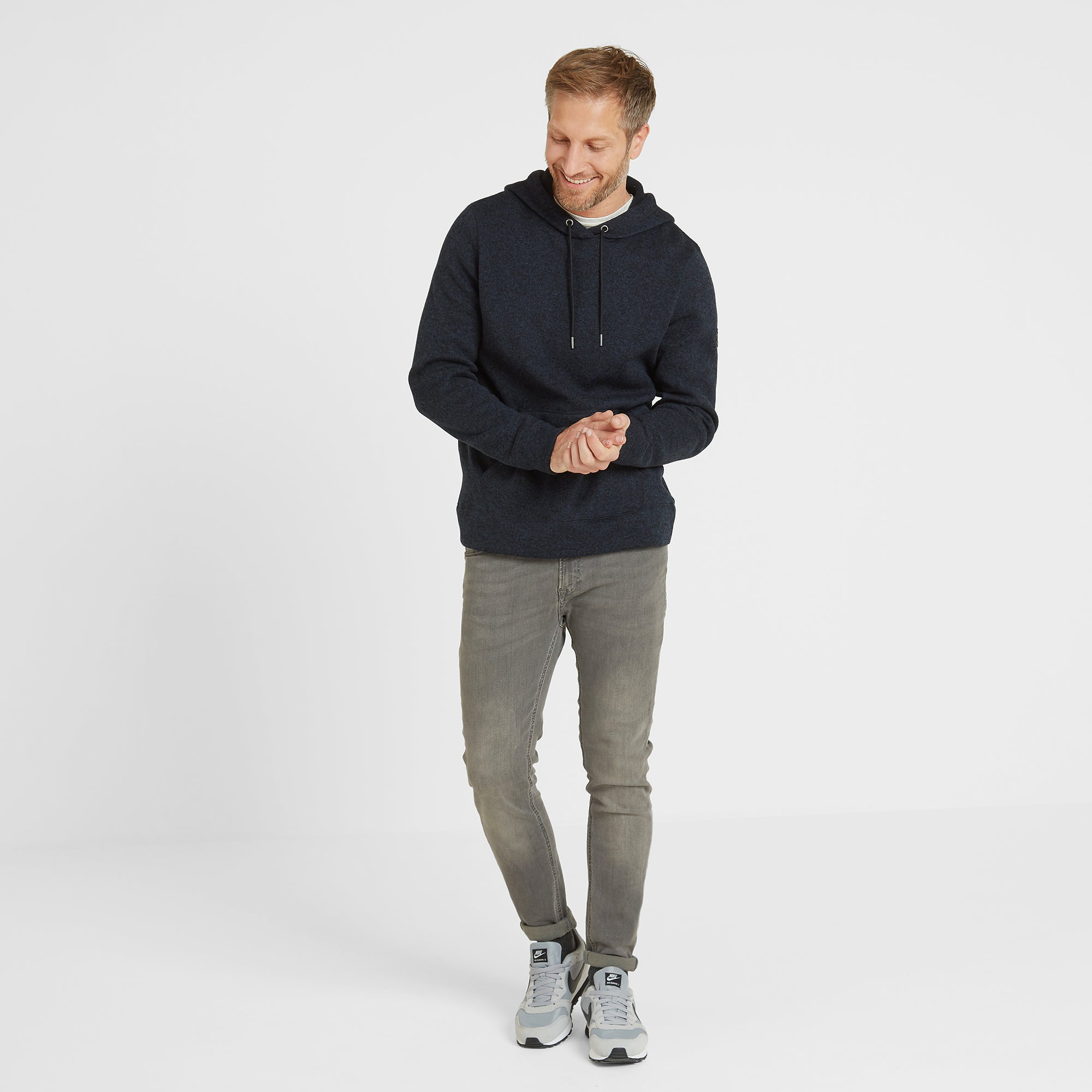 Chilton Mens Knitlook Fleece Hoody - Dark Indigo Marl