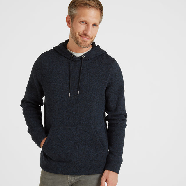 Chilton Mens Knitlook Fleece Hoody - Dark Indigo Marl image 1