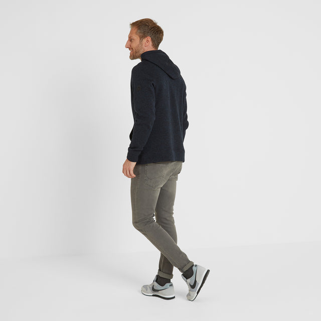 Chilton Mens Knitlook Fleece Hoody - Dark Indigo Marl image 2