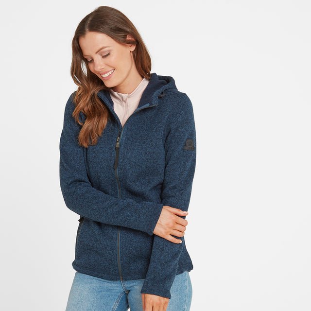 Cropton Womens Knitlook Fleece Jacket - Atlantic Blue Marl image 1