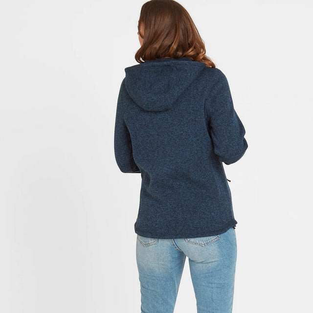 Cropton Womens Knitlook Fleece Jacket - Atlantic Blue Marl image 2