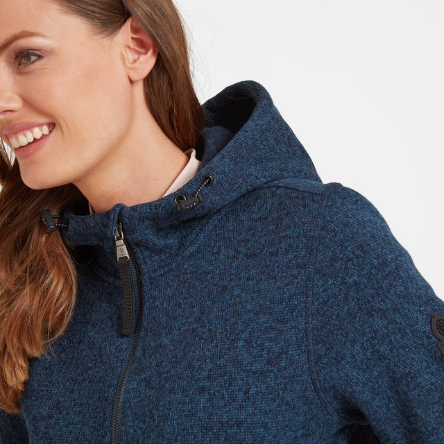 Cropton Womens Knitlook Fleece Jacket - Atlantic Blue Marl image 3